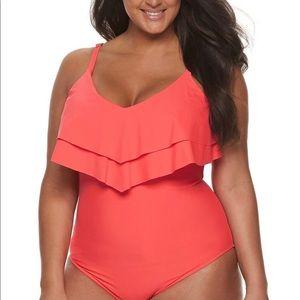 NEW Plus Size 1 pc Bathing suit Apt 9 CORAL PINK